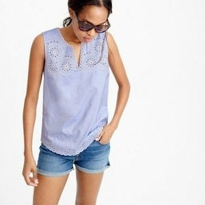 J Crew Embroidered Circles Sleeveless Top Blouse